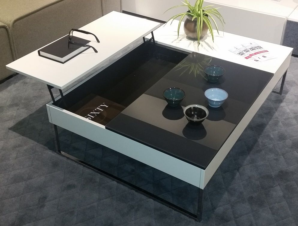 Chiva Functional Coffee Table With Storage In White Lacquer Matte Black Gl And Chrome Legs For Info Pricing 972 503 1500 Or Inf