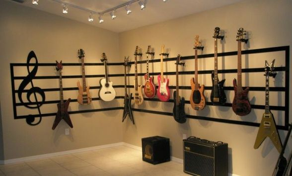 Music Room Decorating Ideas Great Room Guitar Display Living Room Designs Decorating Ideas