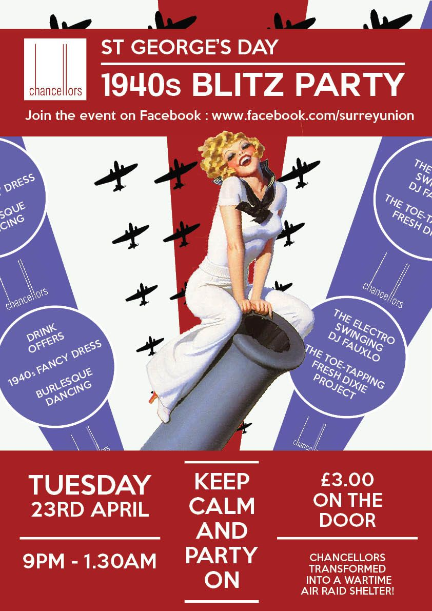 Poster design 1940 - 1940 S Blitz Party In Chancellors