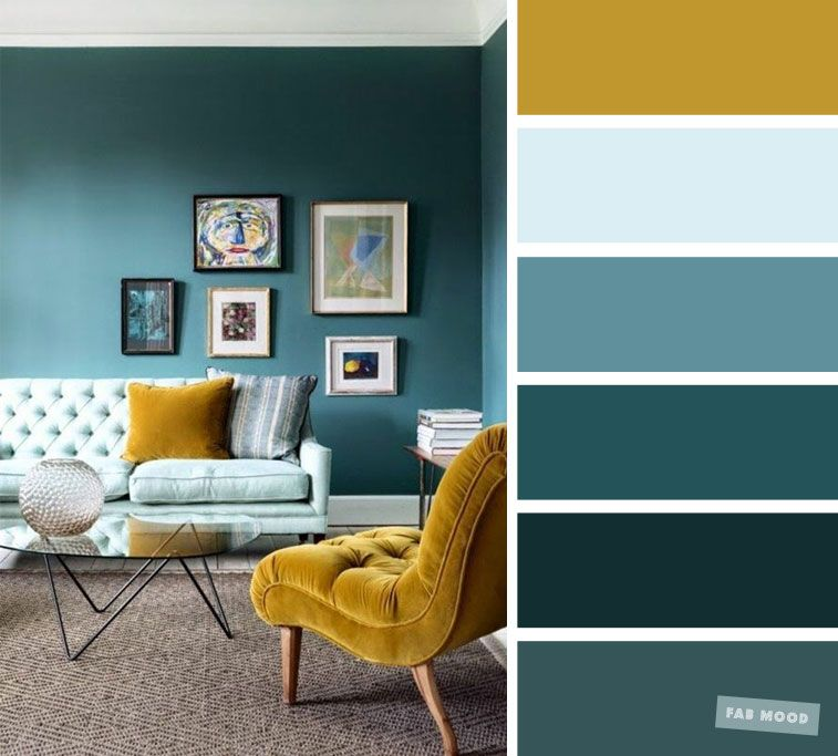The best living room color schemes - Mustard, Teal and light blue color palette images