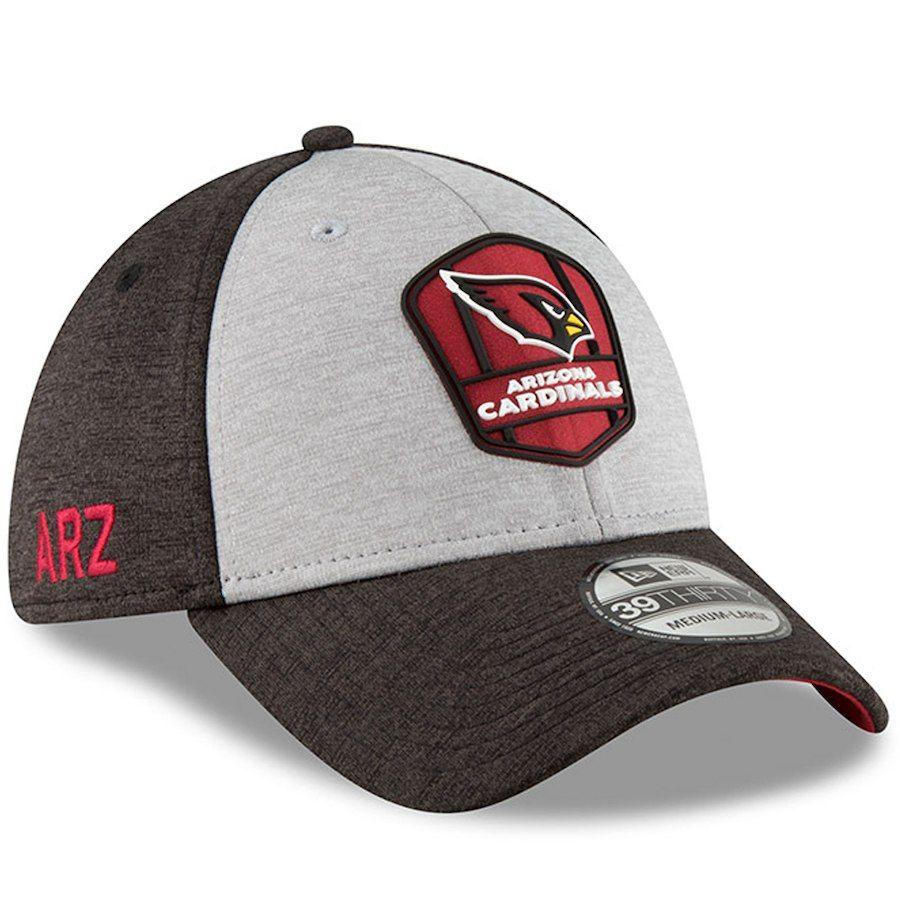 d8ba0214068 Arizona Cardinals New Era 2018 NFL Sideline Road Official 39THIRTY Flex Hat  – Heather Gray Black
