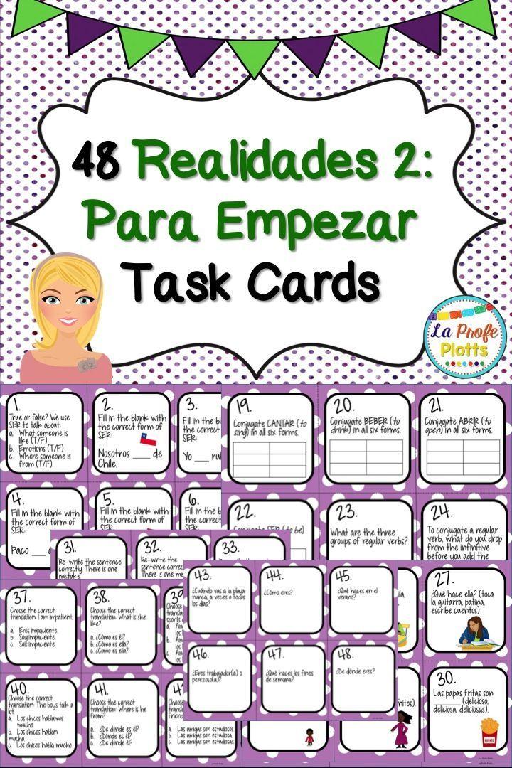 Printable Worksheets realidades 1 worksheets : Spanish Realidades 2: Para Empezar Task Cards | Textbook, Spanish ...