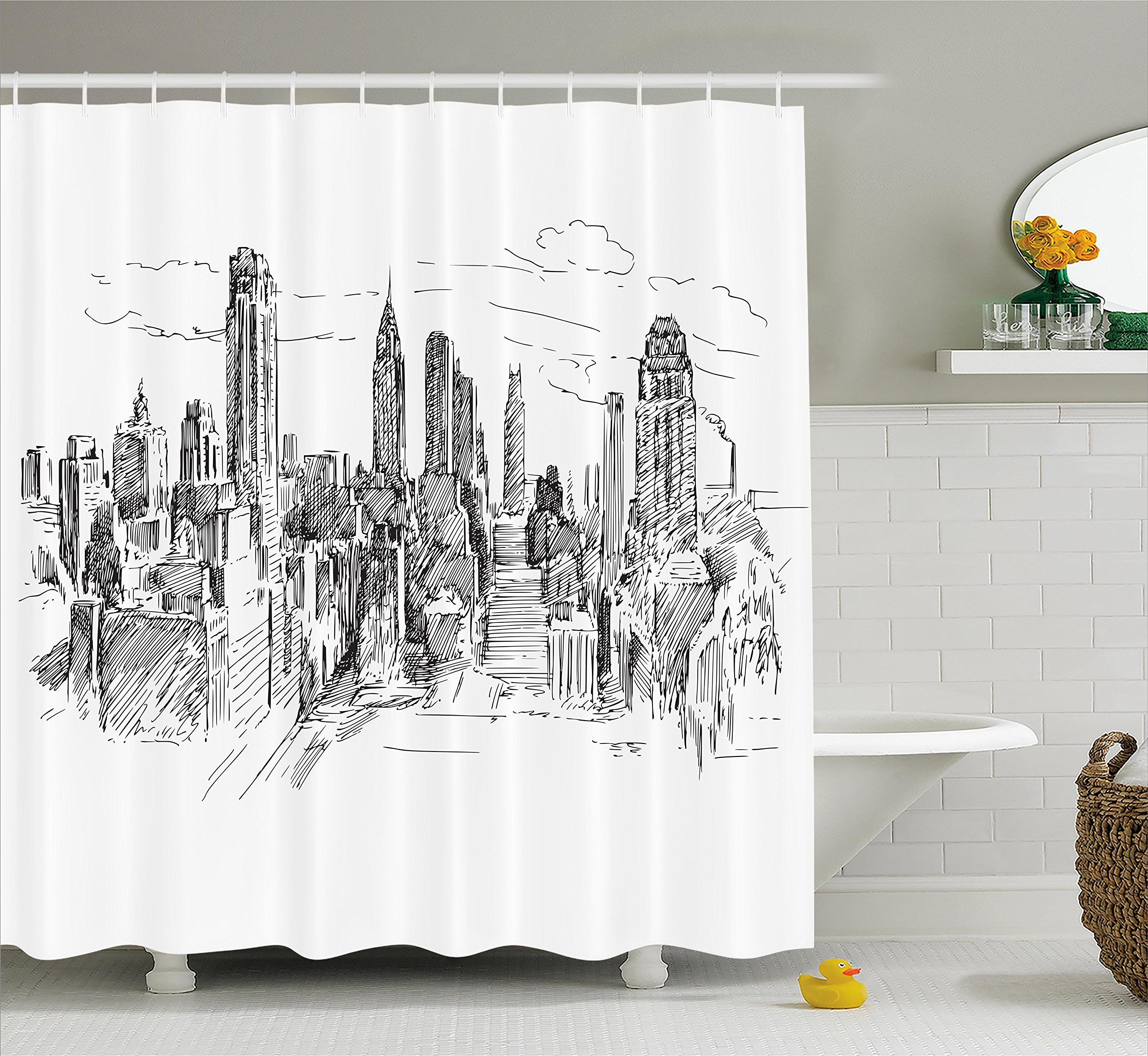 New York Shower Curtain By Ambesonne Hand Drawn Nyc Cityscape