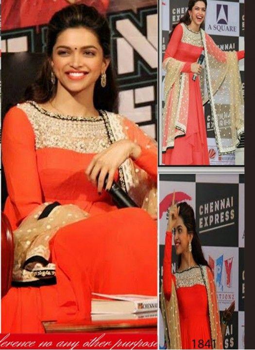 Deepika Padukone Orange Anarkali Suit | Anarkali suits ...