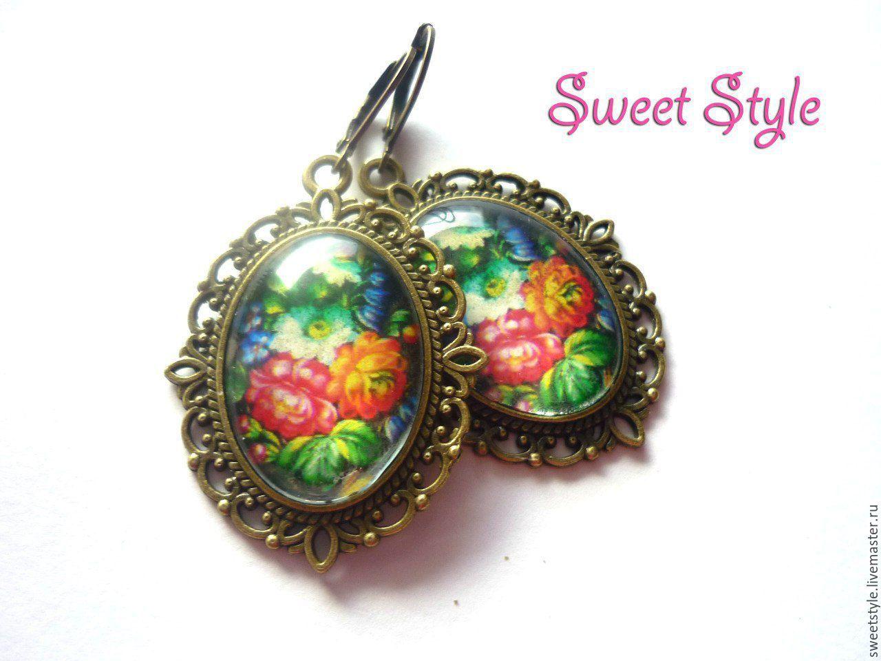 Купить Серьги цветы под куполом - комбинированный, цветы, сережки с цветами, серьги с цветами