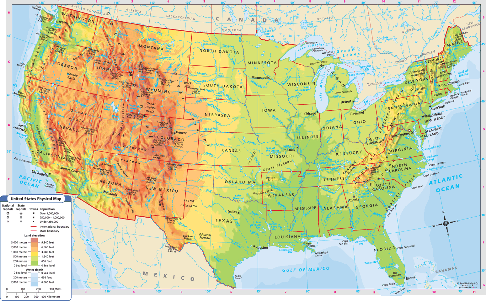 Elevation Map Of Us