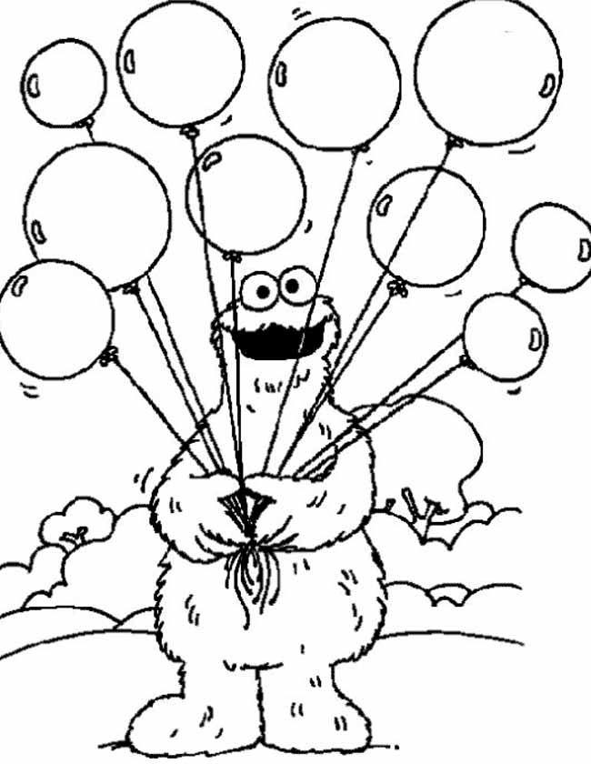 Afdrukken Kleurplaat Koekiemonster Met Ballonnen Sesame Street