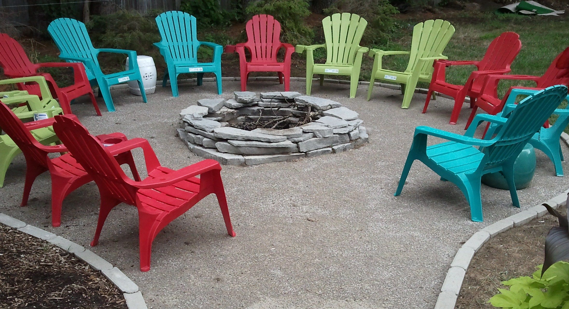 Firepit And Colorful Seating Area Outdoor Improvements Fire Pit