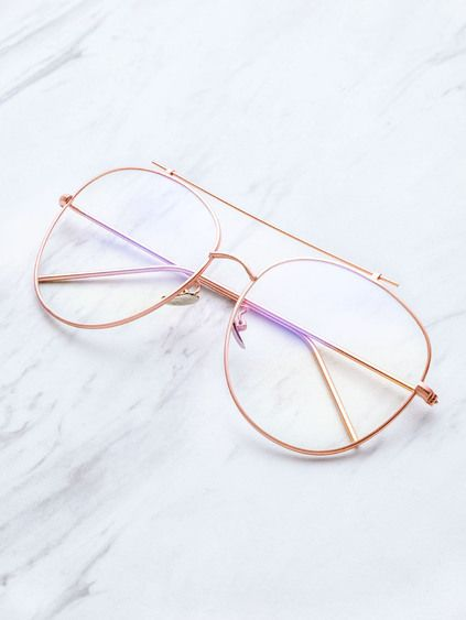 0faade732 Rose Gold Frame Clear Lens Double Bridge Glasses | Outfits ...