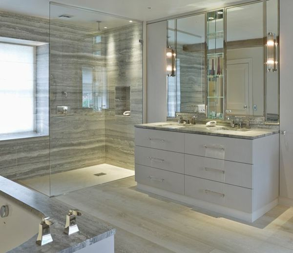 une salle de bains grise l gance et chic contemporain grands miroirs muraux. Black Bedroom Furniture Sets. Home Design Ideas