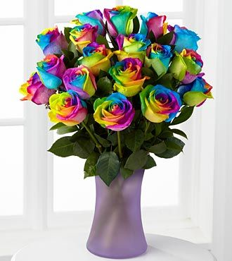 Time To Celebrate Rainbow Rose Bouquet 12 Stems Vase