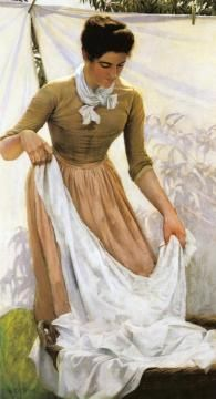 Hanging Out Linen Artwork by Charles Courtney Curran