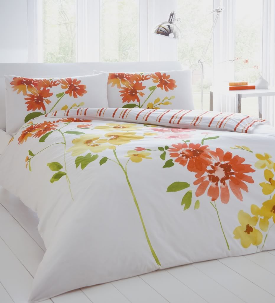 Fl Bedding Set Duvet Cover Pillowcases Orange Lime