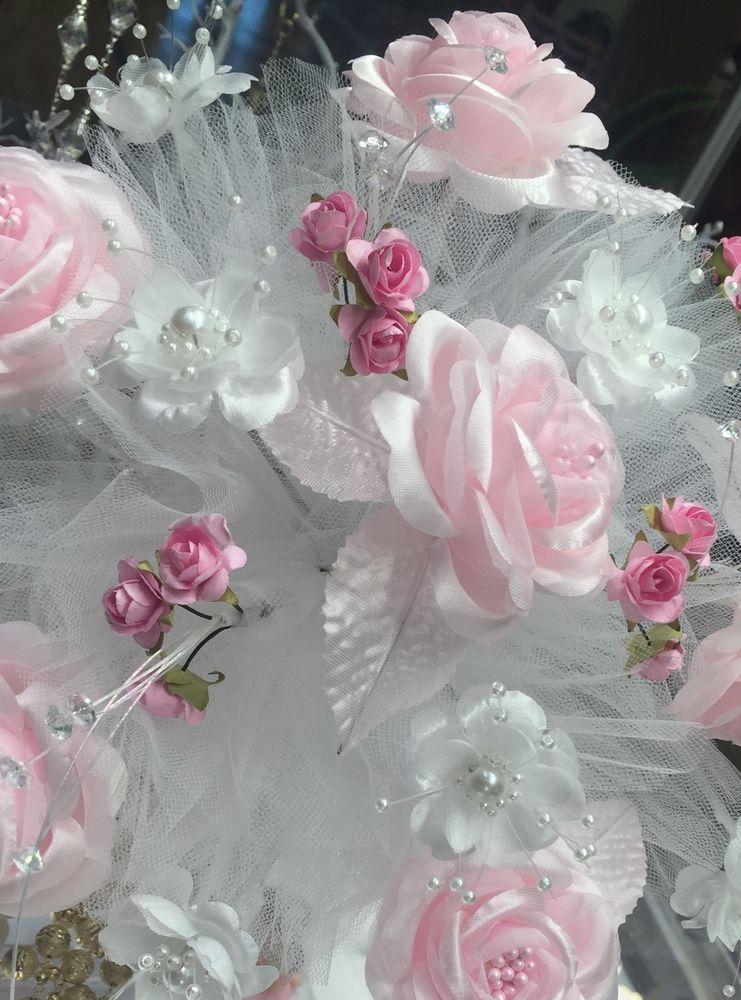 Ramo Para Quinceañera w Rhinestones Bridal Bouquet White Pink Flowers | eBay