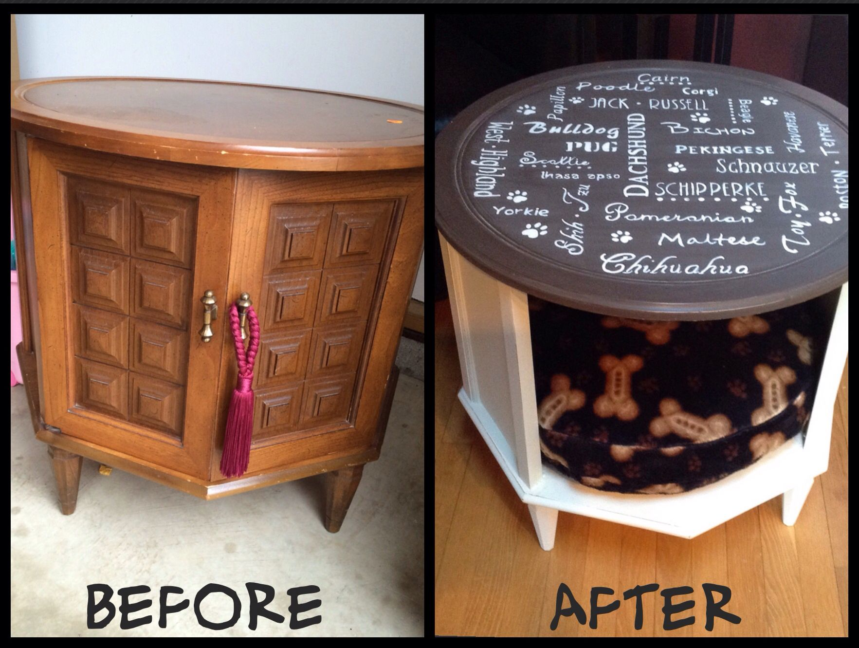 Dog Bed Table Made from old end table Dog Beds Pinterest Bed