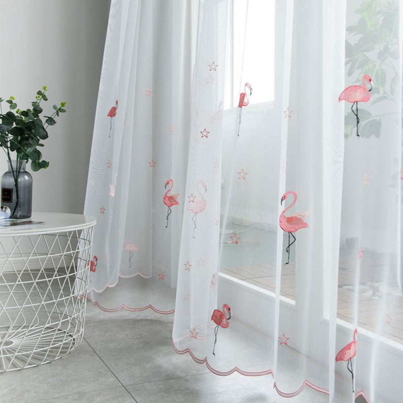 A Pair White Sheer Curtain Embroidered Flamingo Pattern Lace