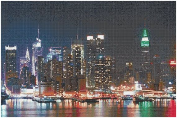 New York City Skyline 14 Count Cross Stitch Chart / by Rainbows78, $8.52