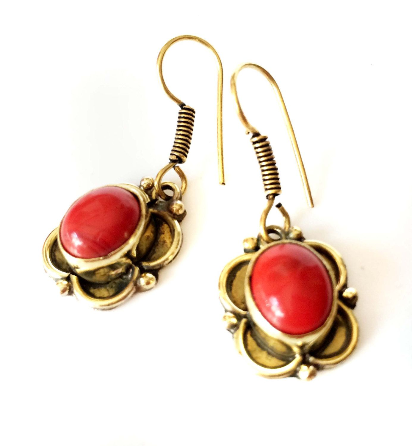 dangle pin drop gold earrings crystal red