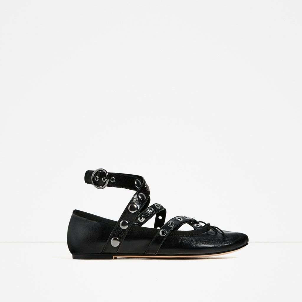 179231ca871f1 LEATHER BALLET FLATS WITH STRAPS AND STUDS-Flats-SHOES-WOMAN | ZARA United  States
