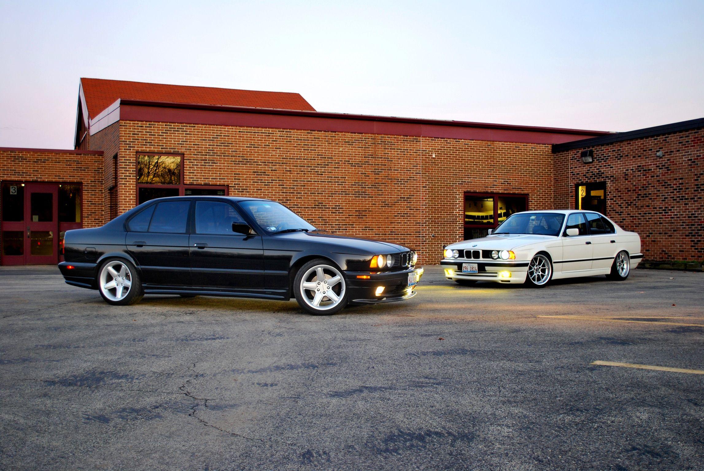 Black Bmw E34 With Zender Kit Ac Schnitzer Wheels White E34
