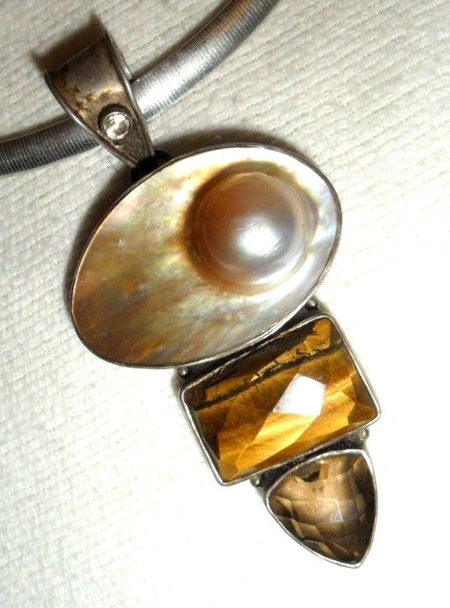 "Huge Blister Pearl Tiger Eye Pendant 925 Sterling 18"" Necklace MOTHERS DAY GIFT! #OmegaChoker"