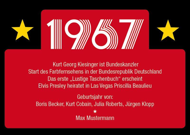 """Einladungskarte Einladung Geburtstag """"1967"""""""