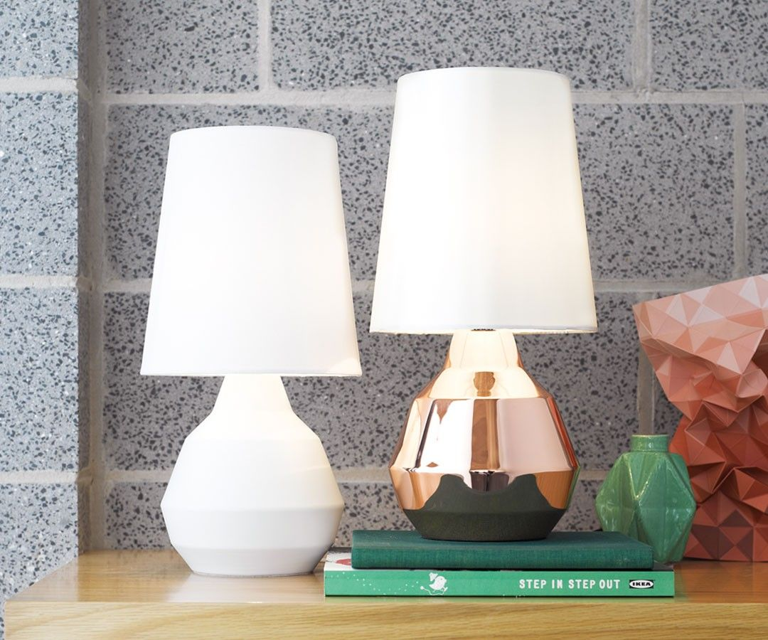 Beacon Lighting - Geo 1 light touch lamp with copper look metal ...