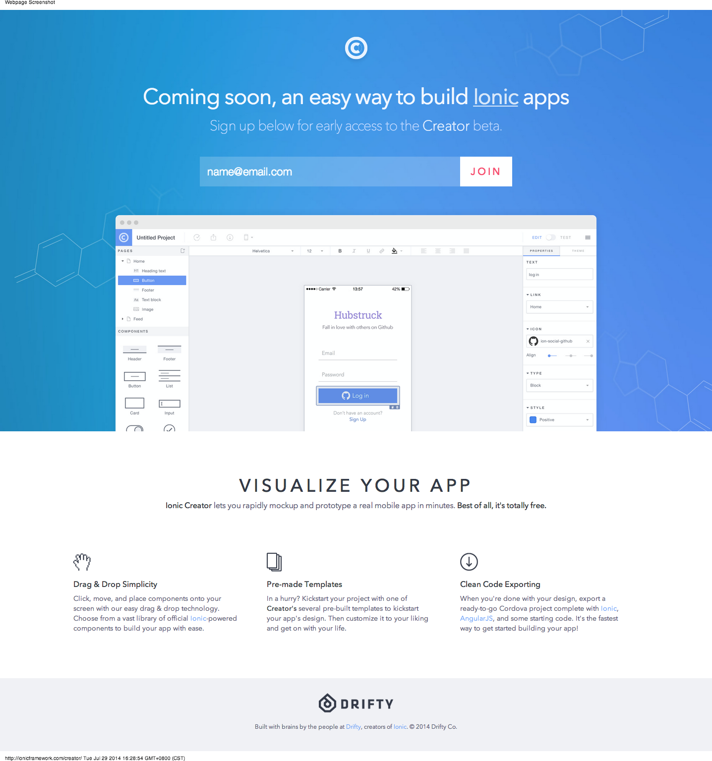 Nice early access form by Ionic Framework  | Beautiful