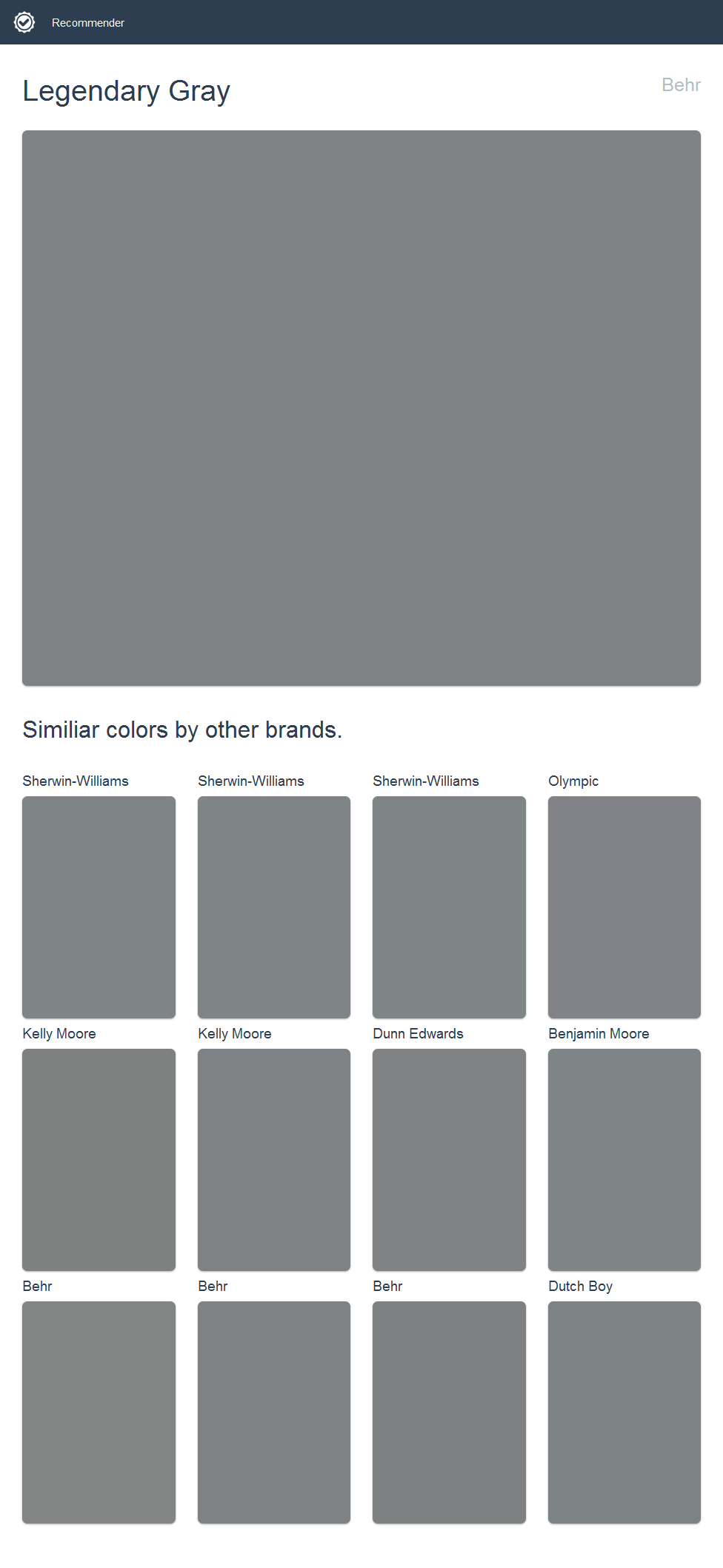 Legendary Gray Behr Click The Image To See Similiar Colors By Other Brands
