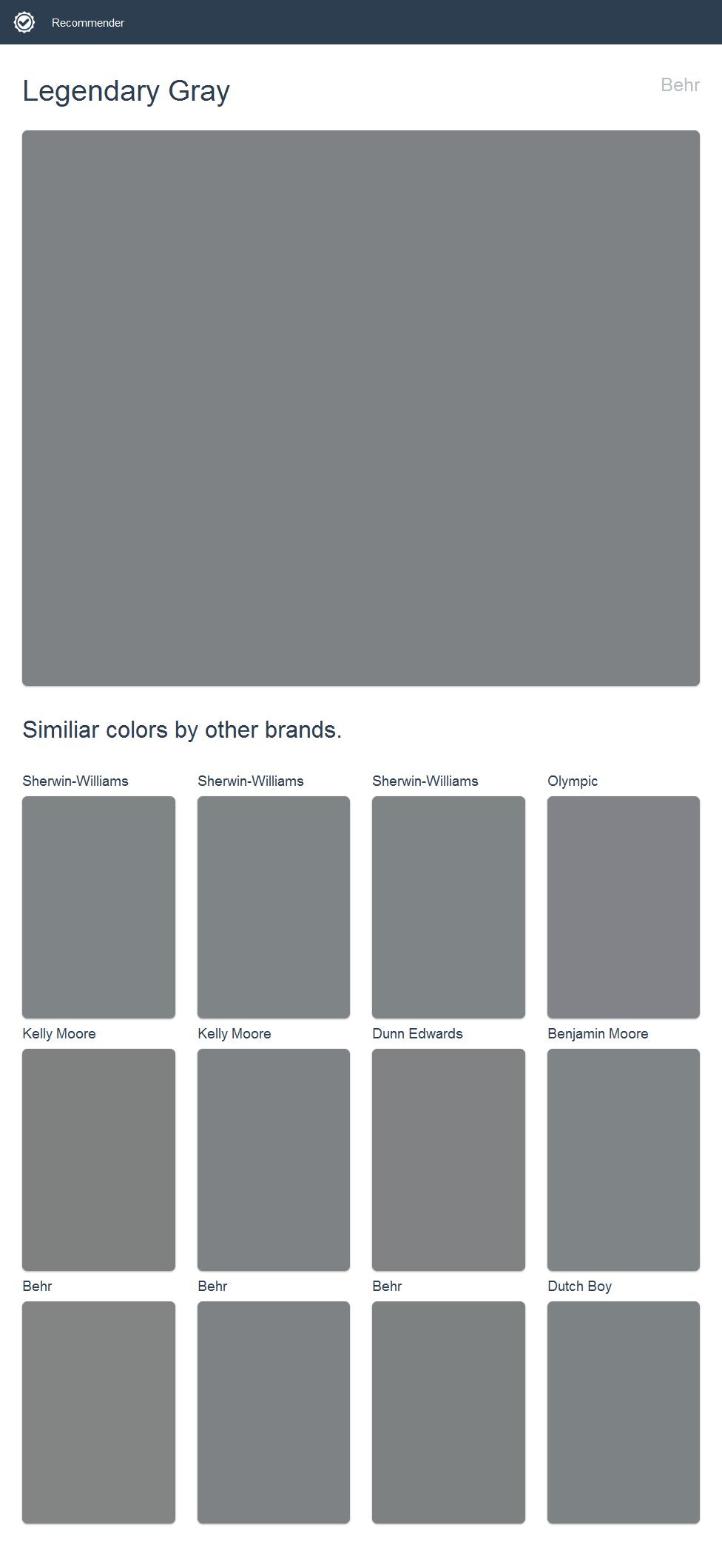 Behr Legendary Gray : legendary, Legendary, Gray,, Behr., Click, Image, Similiar, Colors, Other, Brands., Glidden, Paint,, Edwards