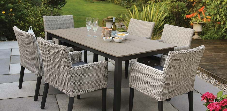 Bretange Dining Set From KETTLERu0027s Wicker Garden Furniture Range On A Patio