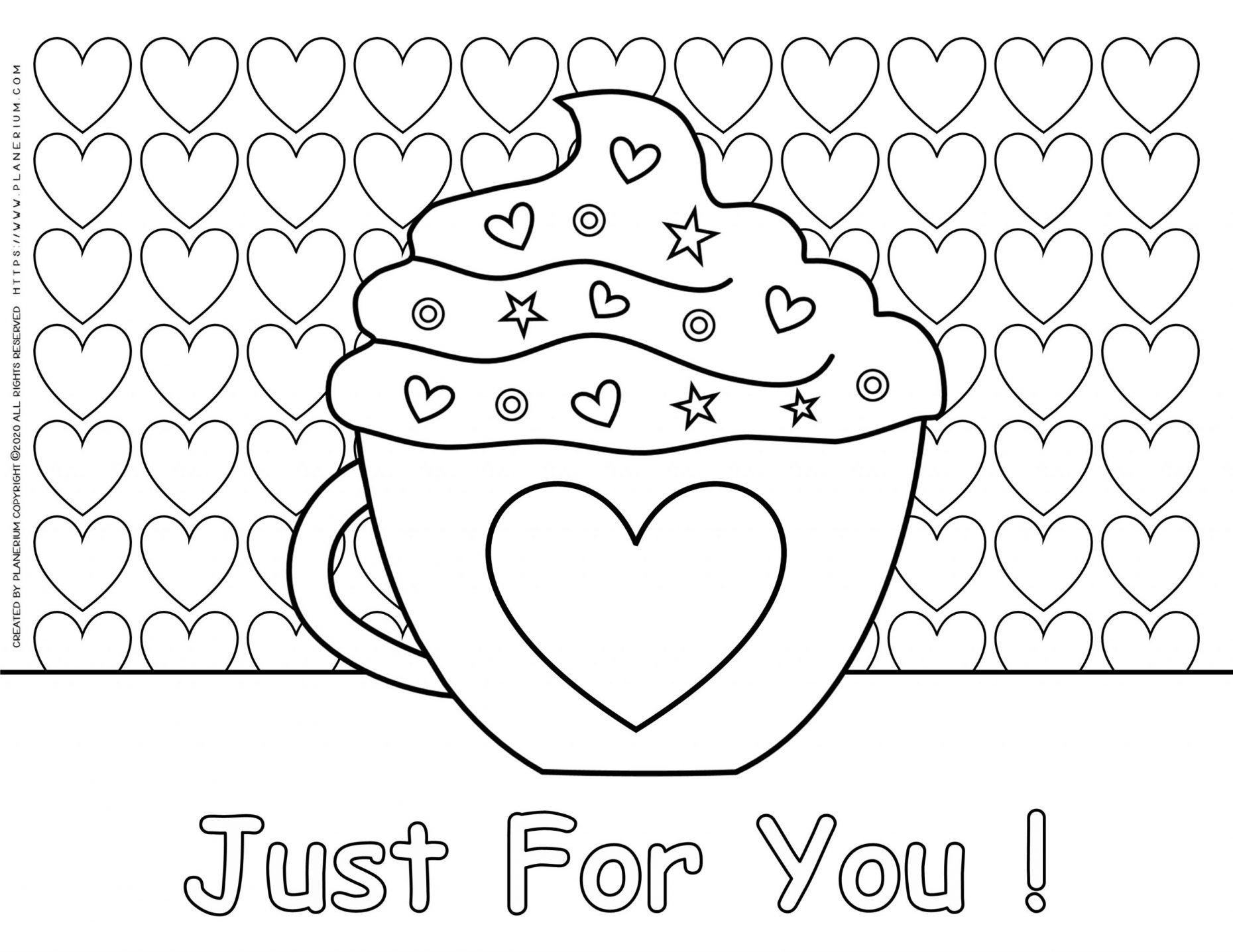 Valentines day - Coloring pages - Mug with a Heart  Planerium