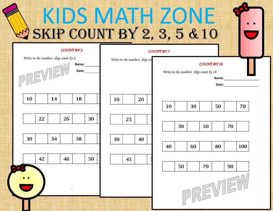 Skip Count Worksheets 16 Worksheets Pdf Kindergarten Year Etsy Kids Math Worksheets Math Worksheets Math For Kids