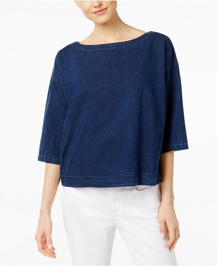 10c3d2a3371 Eileen Fisher Denim Boat-Neck Boxy Top | Products | Boxy top, Tops ...