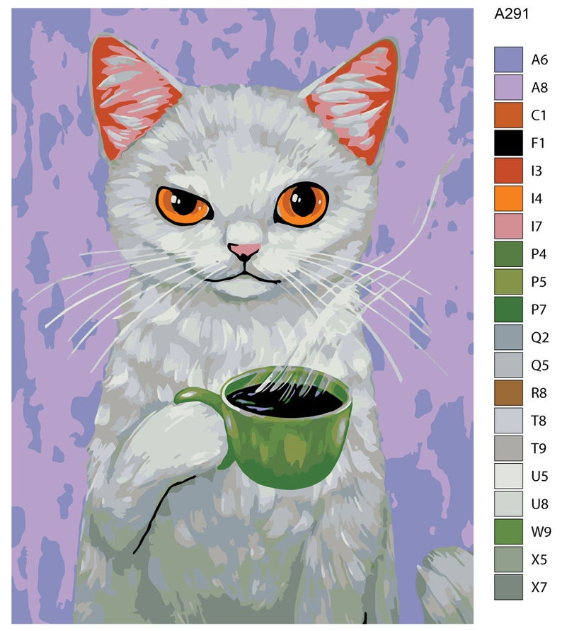 Cats art painting / DIY paint by number kit / painting kit