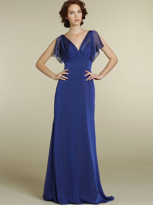 casual royal chiffon long bridesmaid dress with v-neck and flutter ...