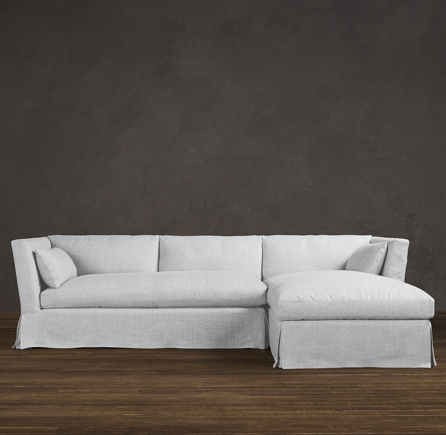 Belgian Shelter Arm Slipcovered Right Arm Chaise Sectional