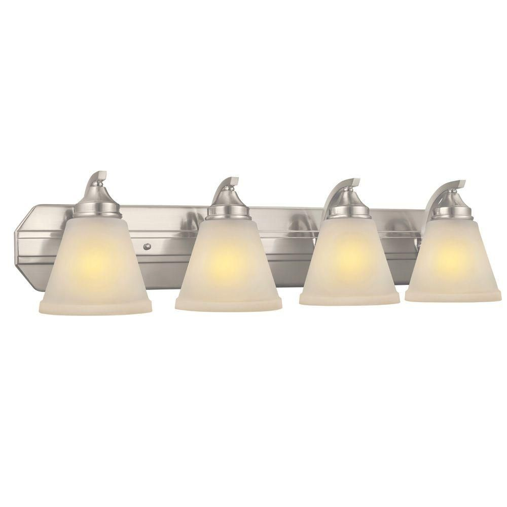 Hampton Bay Tavish 4 Light Brushed Nickel Vanity Light With