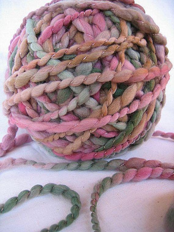 Handspun Art Yarn  Superwash Merino Wool  Harvest by EnchantedYarn, $23.75