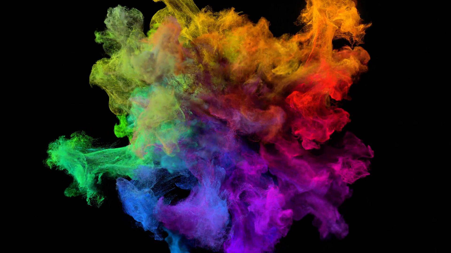1920x1080 Color Explosion On Black Spectrum With Alpha Matte