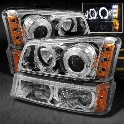 Chevy Silverado 2003 2006 Clear Halo Projector Headlights And Bumper