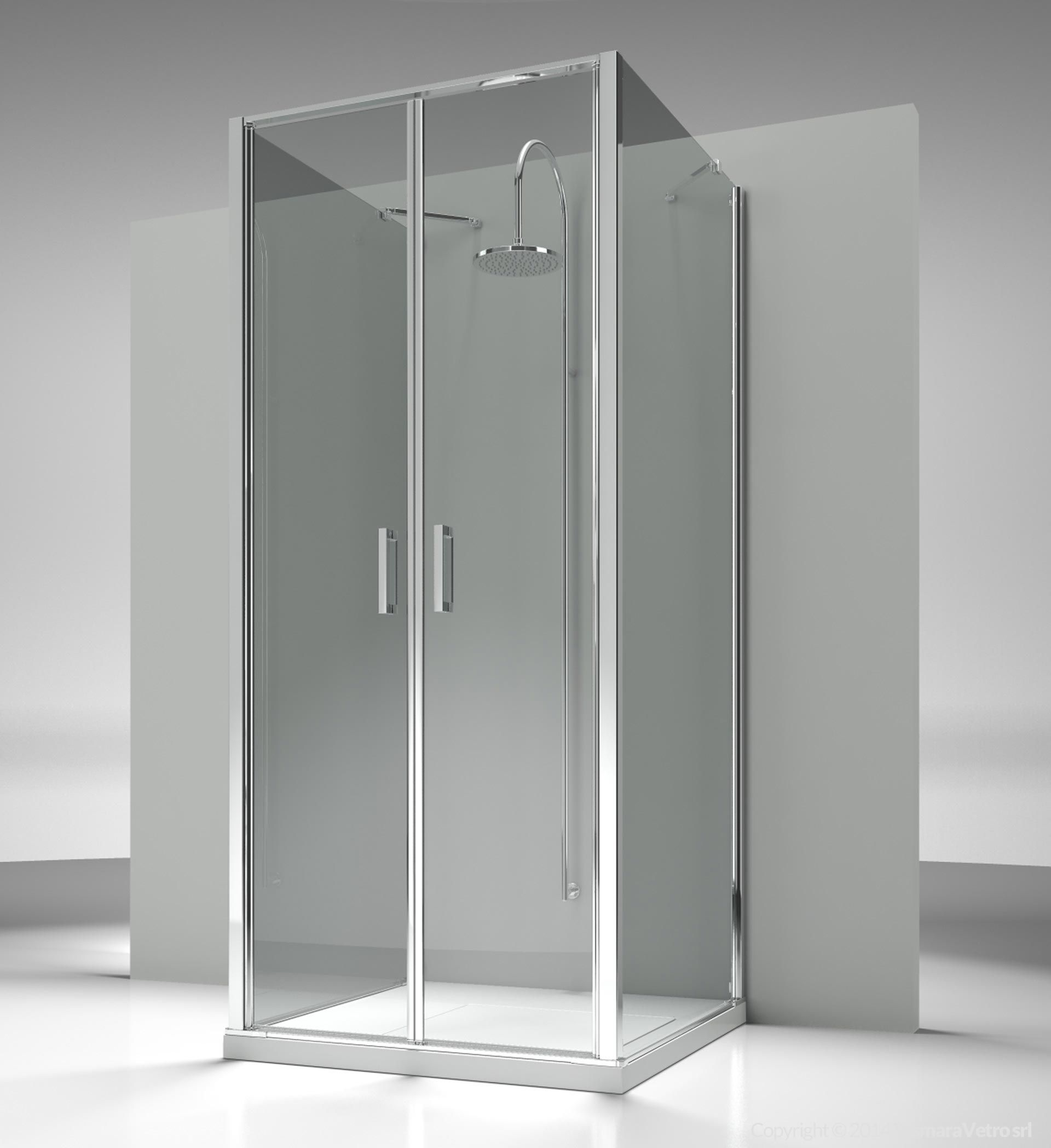 Shower enclosure at wall made by an opening side LB with