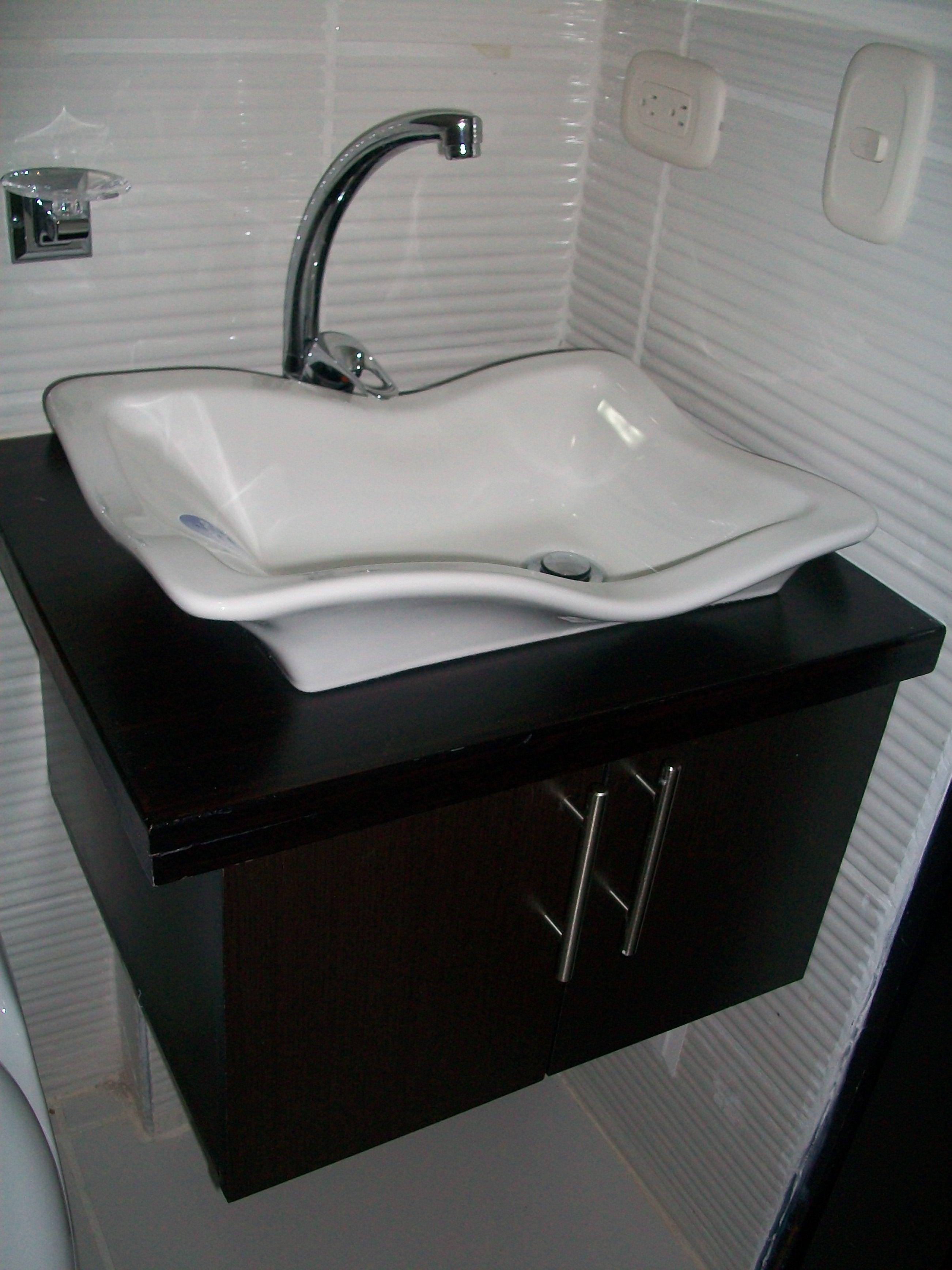 Fabricado por c g arte y decoraci n mueble de ba o florante con lavamanos de sobremontar av - Lavamanos para banos ...