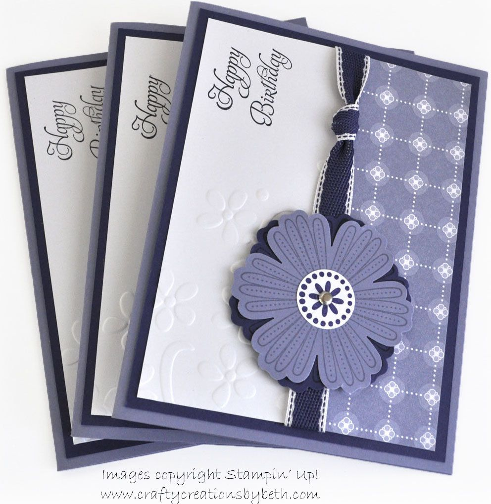 Handmade birthday cards set of 3 purple flower and dry