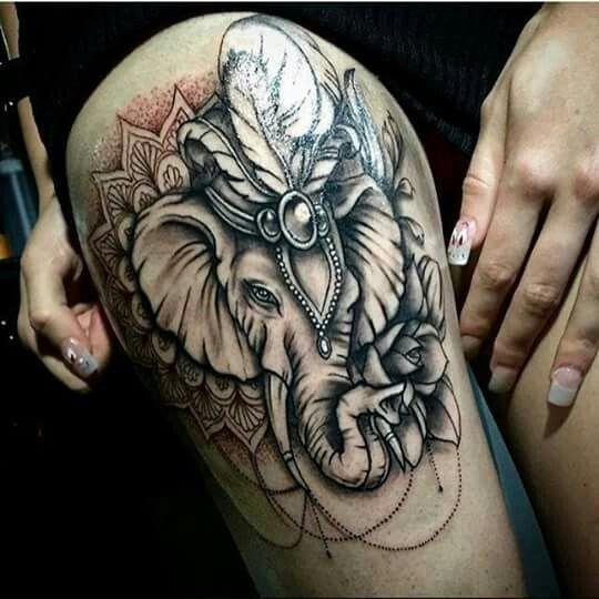 Elephant Mandala Tattoo Tattoos T Tatuajes Elefantes Y: Tatouage éléphant Mandala élégant