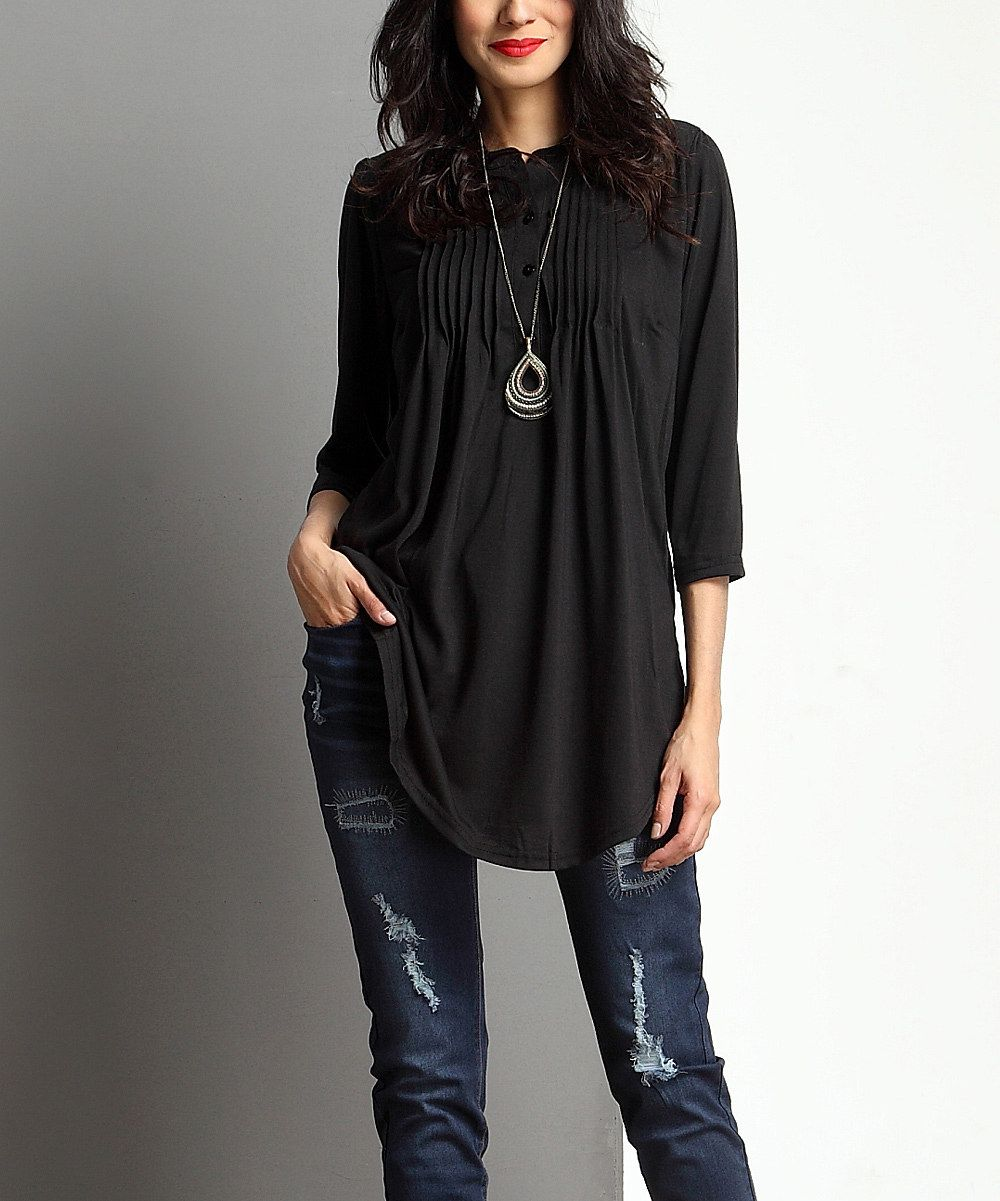 Look at this Black Notch Neck Pin Tuck Tunic on #zulily today!