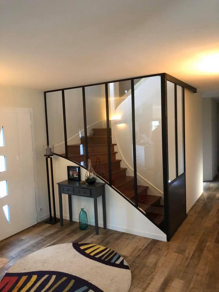 verrière escalier avec porte en 2020  idées escalier