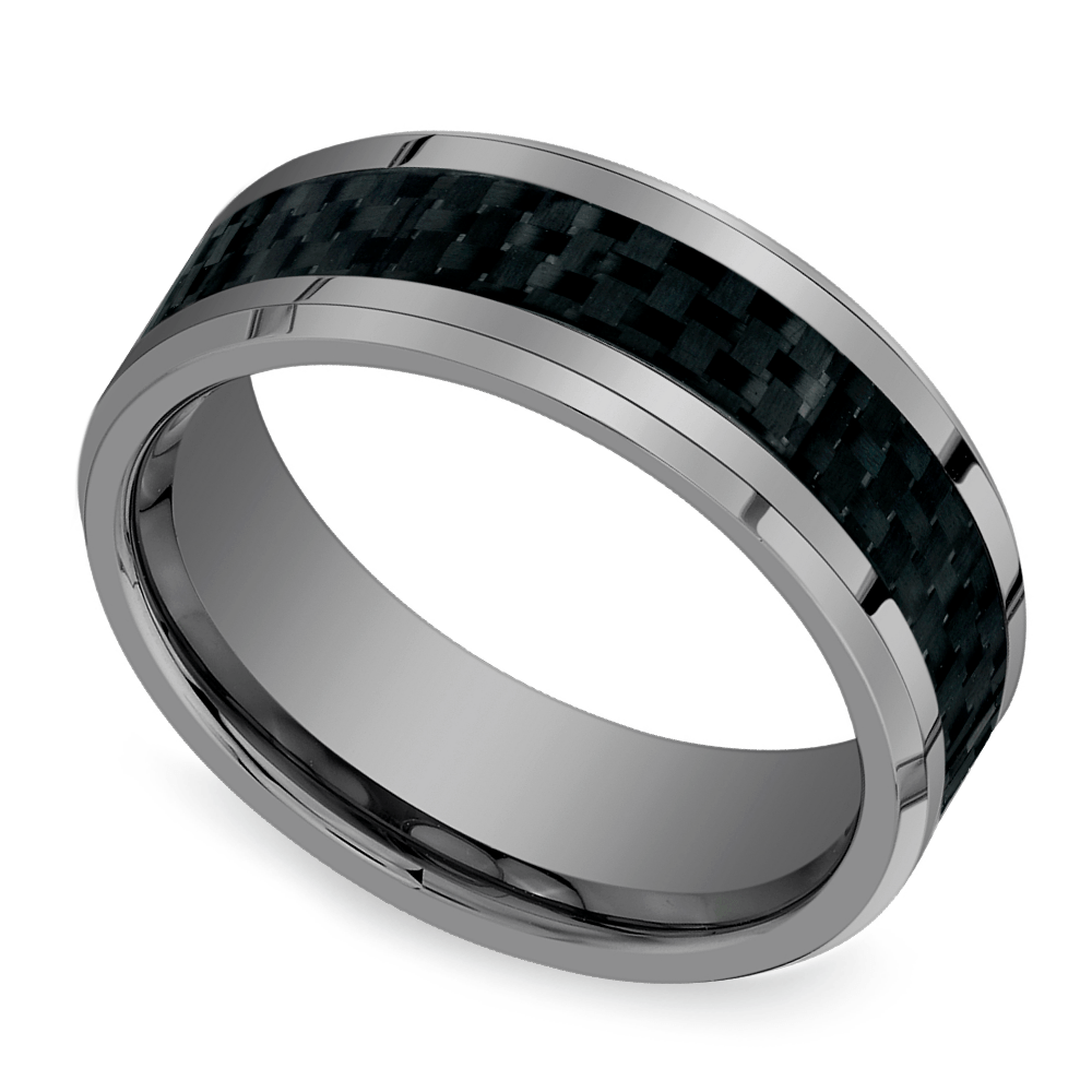 Beveled Carbon Fiber Inlay Men's Wedding Ring In Tungsten