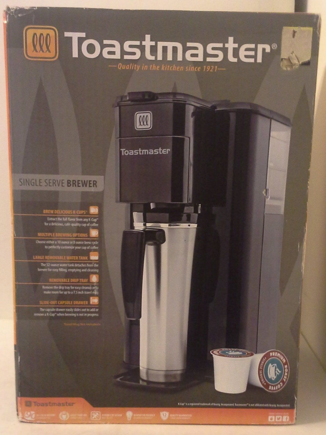Toastmaster K Cup Single Serve Brewer Model Tm 100cm Coffee Maker Coffee Coffee Brewing