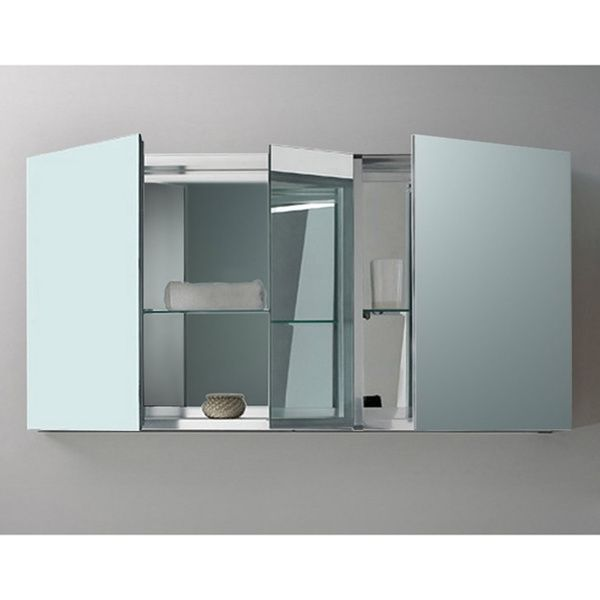 Fresca 50 Wide Bathroom Medicine Cabinet W Mirrors 2 Glass Shelves
